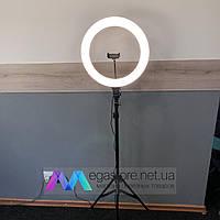 Селфи кольцо лампа 38 см на штативе 2 метра с держателем для телефона от сети Soft Ring Light LED подсветкой