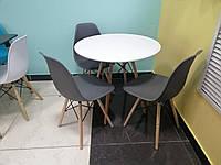 Круглый стол TM-35 матовый белый от Vetro Mebel D80 см, ножки из бука