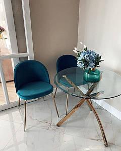Cтеклянный стол Т-317 D80 см от Vetro Mebel, ноги золотые