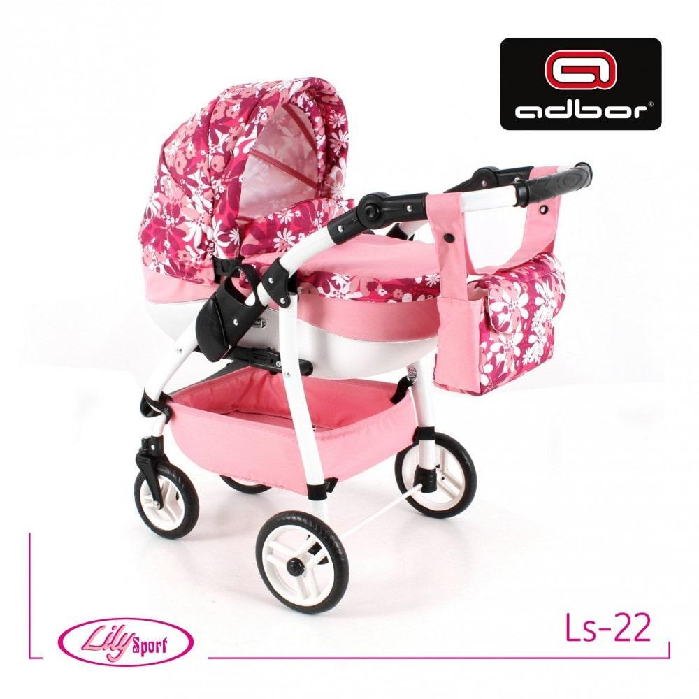 303 Кукольная коляска Lily SPORT TM Adbor (Ls-22, розовый светлый, цветы новые на малиновом)