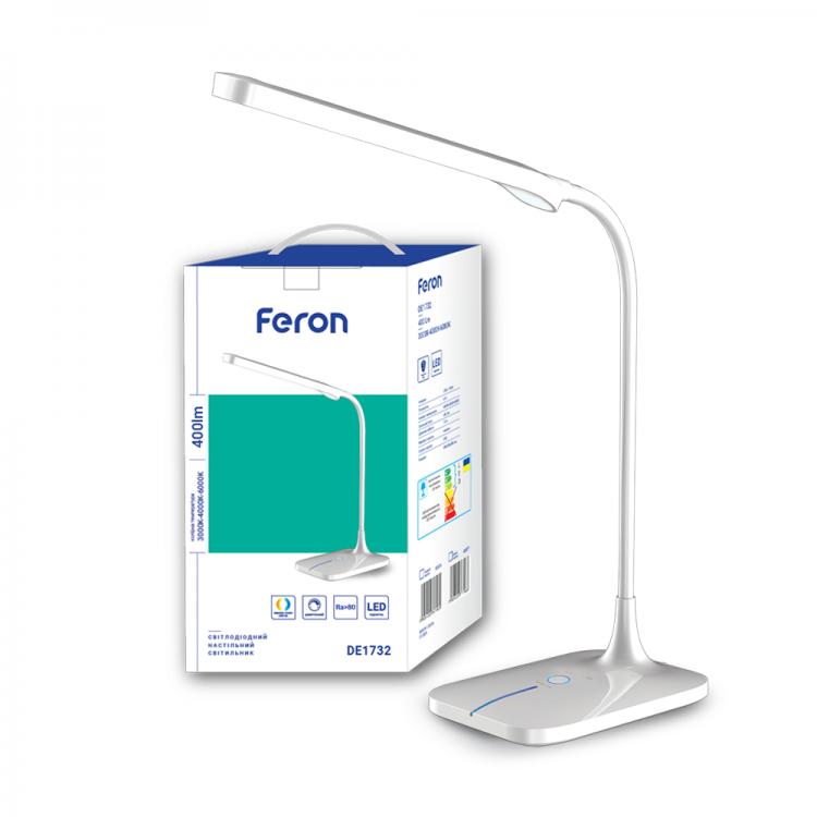 Светодиодный настольный светильник Feron DE1732 6W 3000K-4000K-6000K Белый