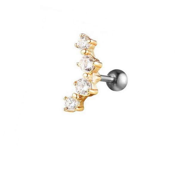Серьга золотой полумесяц четыре кристалла в крапане 175957