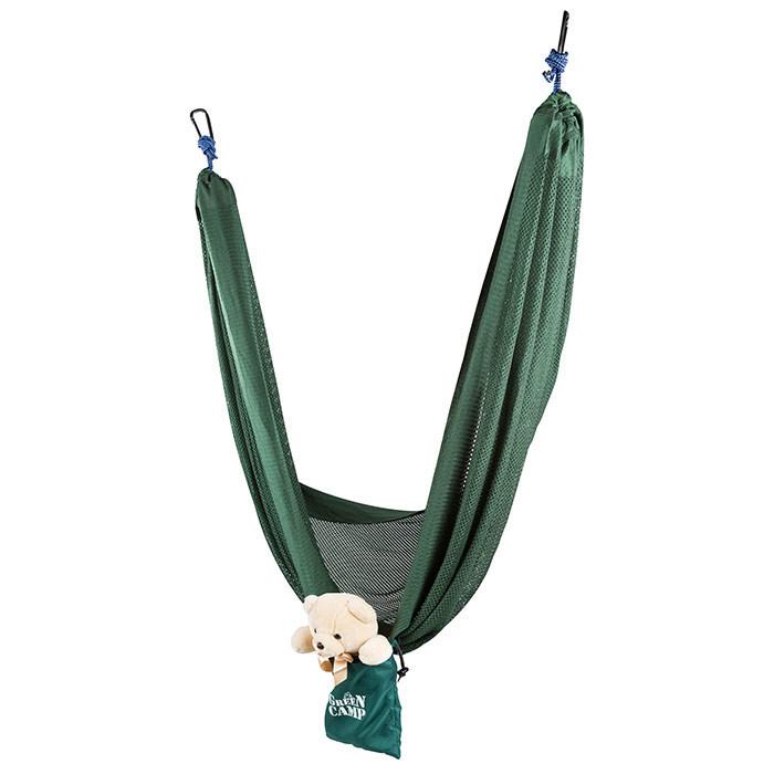 """Гамак подвесной походной GreenCamp """"MINAS"""", размер 270*180 см, полиэстр, цвет зеленый, 2 карабина"""