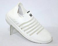 Летние стрейчевые кроссовки для женщин белого цвета