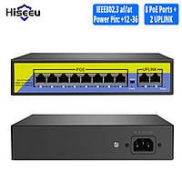Hiseeu POE-X1010B 48-контактный 10-портовый коммутатор SWITCH для системы IP-видеонаблюдения