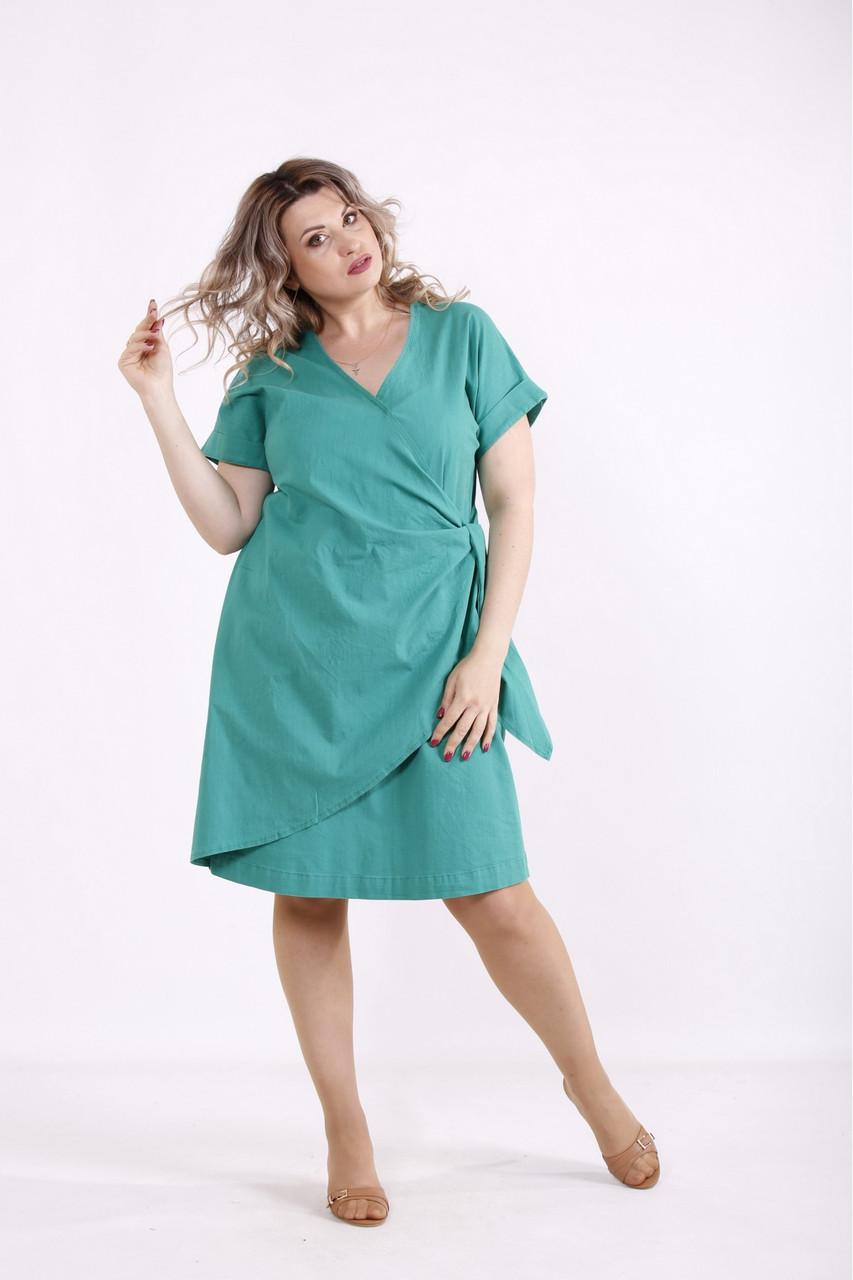 Зелене легке плаття з льону літній великого розміру 42-74. 01488-3
