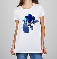 Женская футболка с принтом Соник (Sonic) 4 Push IT S, Белый