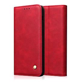 Чехол книжка для Realme 3 Pro боковой с отсеком для визиток, Crazy Horse, Красный