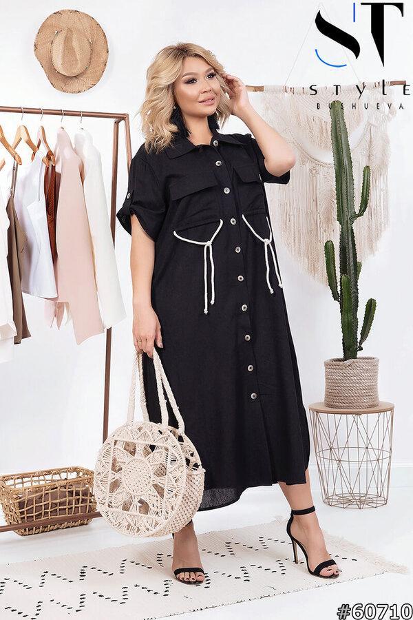Женское льняное платье-рубашка больших размеров 52-66