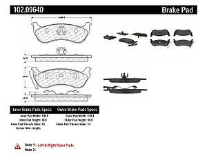 Колодки тормозные задние, дисковые, керамические CENTRIC PARTS 10209640  FORD EXPLORER JEEP LIBERTY WRANGLER
