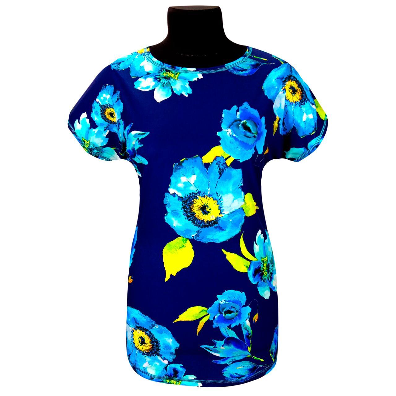 Блуза летняя яркая в цветах