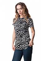 Женская футболка с принтом вискозная БОЛЬШОЙ РАЗМЕР!!! зебра