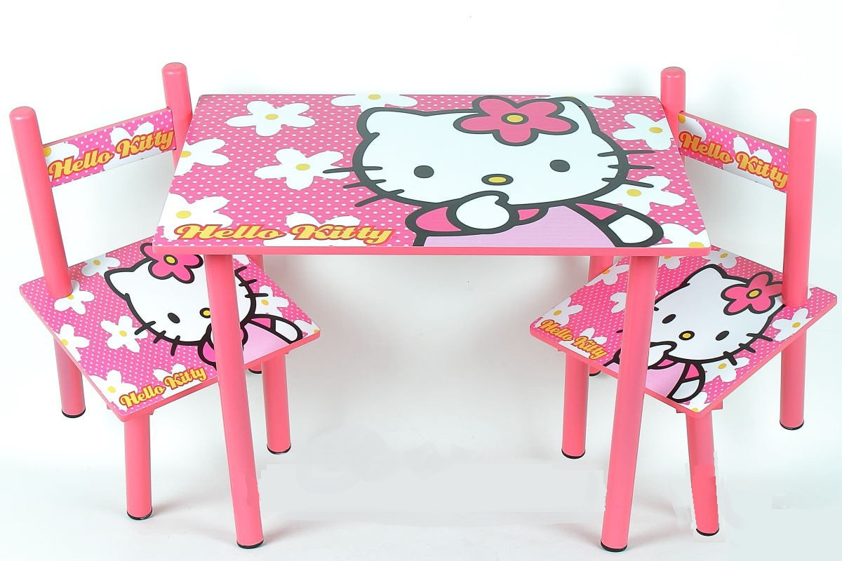 Набор детской деревянной мебели Столик + 2 стульчика Hello Kitty Столик для рисования для девочки от 1 года
