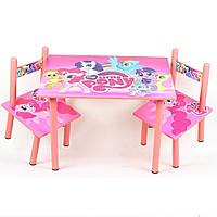 Мебель Детский столик Розовый пони со стульчиками Парта детская деревянная Парта для девочки
