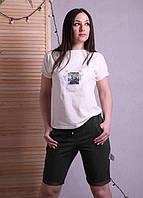 Женские бриджи черные летние трикотажные с поясом 46-54р.