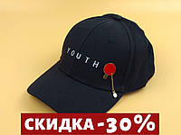 Комплект Бейсболка кепка Youth (черная) застежка метал + металлический значок пин Теннисная ракетка