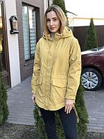 Женская желтая куртка парка весенняя осенняя