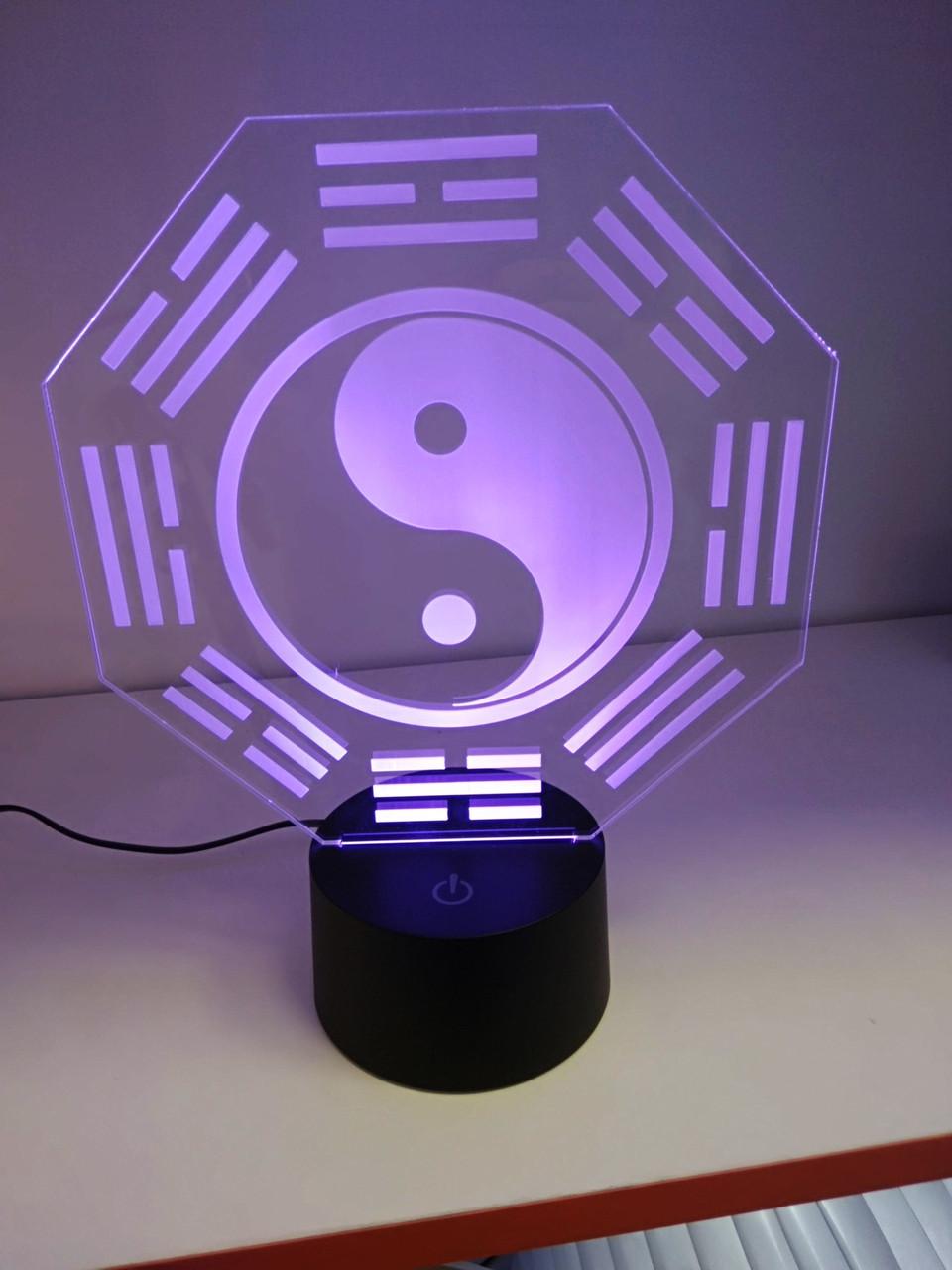 """3D светильник """"Инь и Ян"""" (1102)"""