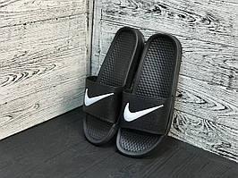 Мужские летние резиновые сланцы Nike черне с белым (реплика) — 40, 41