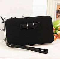 Черный женский клатч кошелек с бантиком, фото 1