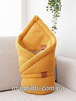 Конверт-одеяло на выписку на махре Familia, горчица