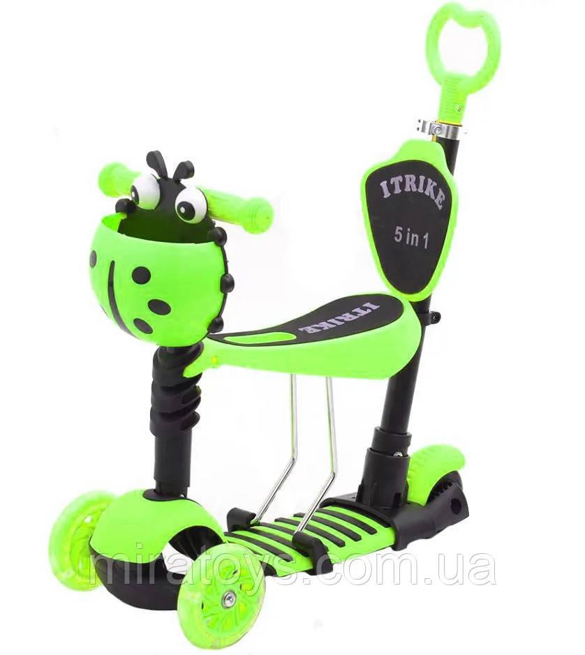 ✅Самокат-беговел iTrike JR 3-026-B 5в1 с родительской ручкой и сиденьем, зеленый
