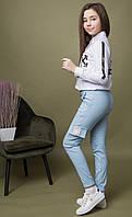 {есть:152,134,164,140,146} Брюки-джоггеры Off-White для девочек, Артикул: MDL1901-голубой