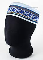 Феска мужская на лето голубая с синей вышивкой