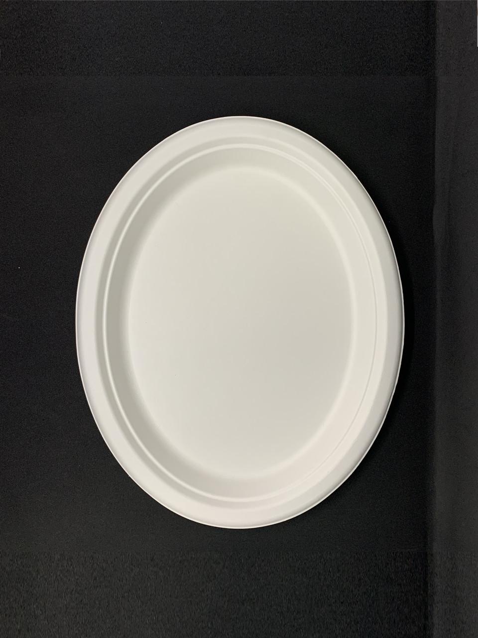 Тарелка одноразовая бумажная овальная