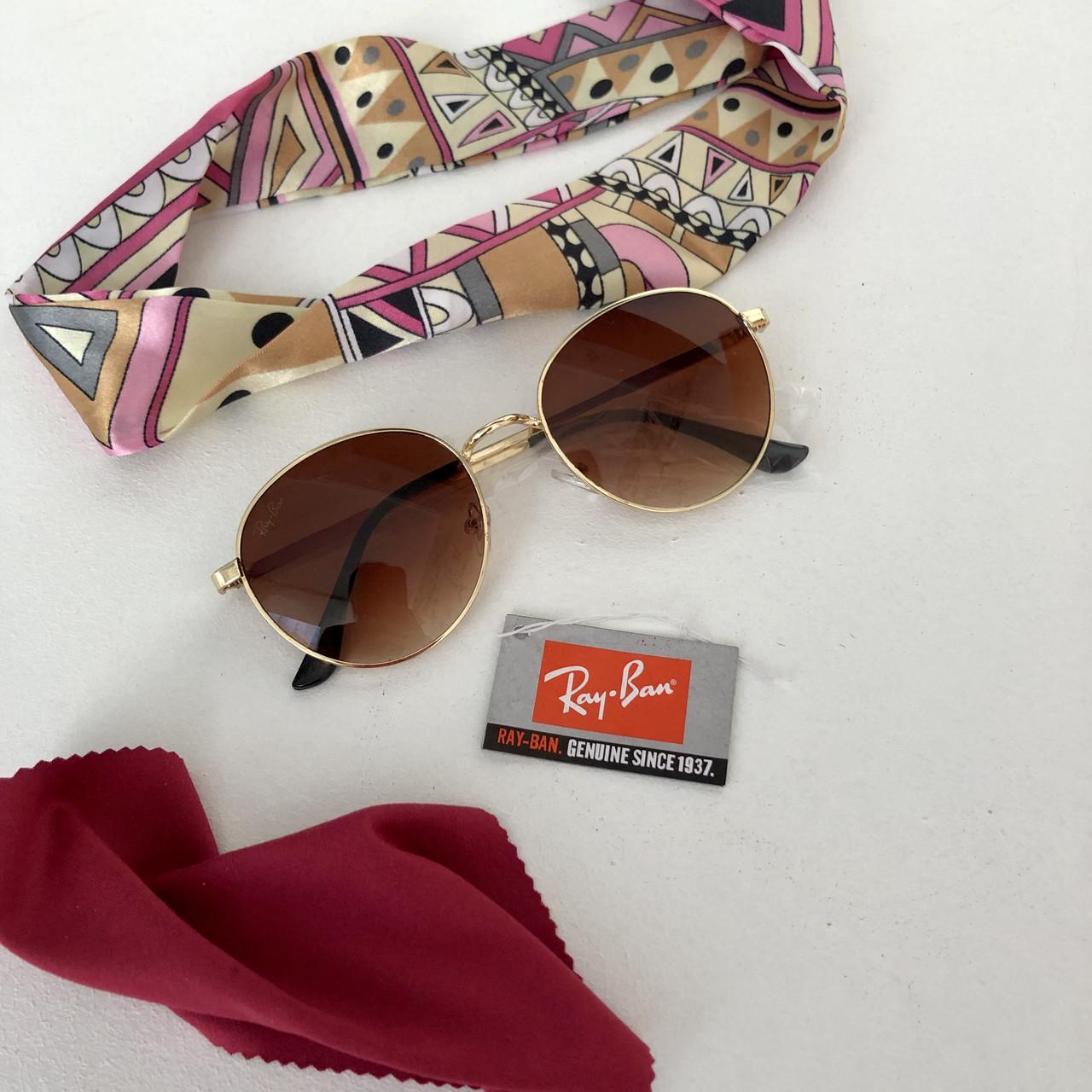 Очки солнцезащитные брендовые под Ray Ban коричневые недорогие копии