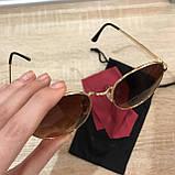 Очки солнцезащитные брендовые под Ray Ban коричневые недорогие копии, фото 5