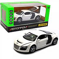 Машинка игровая автопром «Audi R8» металл, 13 см, белый, свет, звук, двери открываются (3201D), фото 1