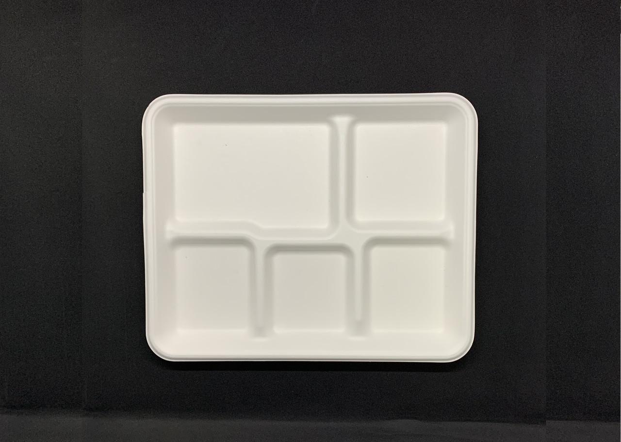 Тарелка одноразовая бумажная 5 секций 26 см белая 125 штук Р16 Сахарный Тростник
