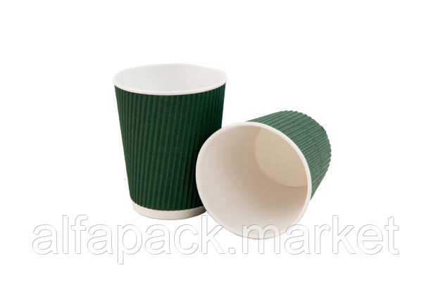 Гофрированный стакан 185 мл, зеленый (20 шт в рукаве) 061420005