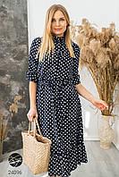 Платье миди темно-синего цвета с принтом в горох. Модель 24096. Размеры 44-48