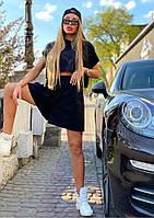 Женский модный черный костюм: свитшот с капюшоном и шорты
