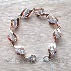 Нарядный серебряный браслет с золотыми пластинами
