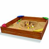 Песочница деревянная для двора игровая 145 на 145 см., фото 2