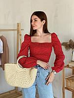 """Блуза c объемными рукавами в горошек """"Валенсия"""", Красный, L (3773)"""