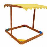 Пісочниця дерев'яна з кришкою для двору ігрова 145 145 див. Sahara, фото 2