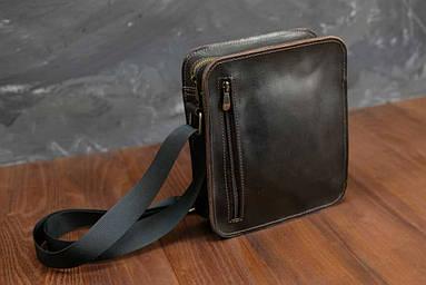 Кожаная мужская сумка Крис, натуральная кожа итальянский Краст цвет коричневый оттенок Кофе