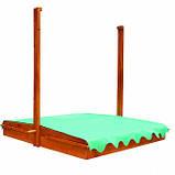 Песочница деревянная с крышкой для двора игровая 145 на 145 см., фото 2