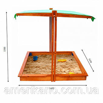 Пісочниця дерев'яна з кришкою для двору ігрова 145 145 див.