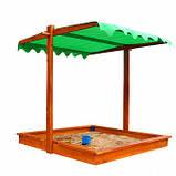 Пісочниця дерев'яна з кришкою для двору ігрова 145 145 див., фото 4