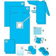 Стерильный комплект одежды для членов семьи присутствовавших при родах СМС+спанбонд 30г/м2