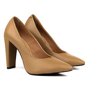 Женские туфли лодочки кожаные 36-38 Woman's heel коричневые на высоком каблуке