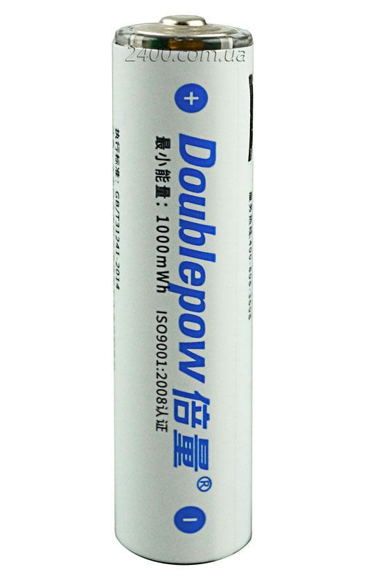 Батарейка – аккумулятор AAA micro USB 665mAh 1.5V Doublepow с индикатором заряда (1000mWh) 1.5V Li-ion