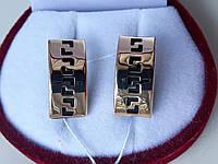 Стильные серьги из красного золота 585 пробы со вставкой каучука, фото 1