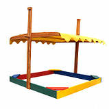 Песочница деревянная с крышкой для двора игровая 145 на 145 см., фото 3