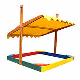 Песочница деревянная с крышкой для двора игровая 145 на 145 см., фото 5